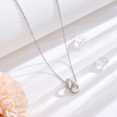 17.7 Inch Silver Metal Rhinestone Double Ring Necklace