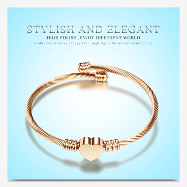 Heart Shape Steel Wire Braided Gold Bangle
