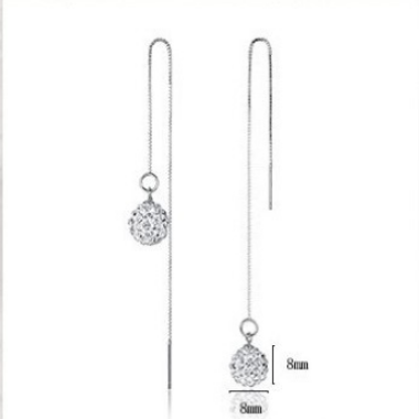 Chain Tassel Silver Shambhala Ball Earring Set