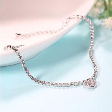 Rhinestone Heart Design Silver Metal Bracelet