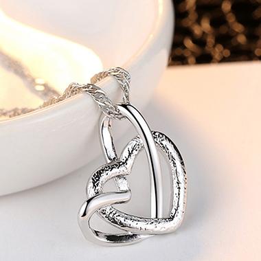 Double Heart Design Silver Metal Necklace