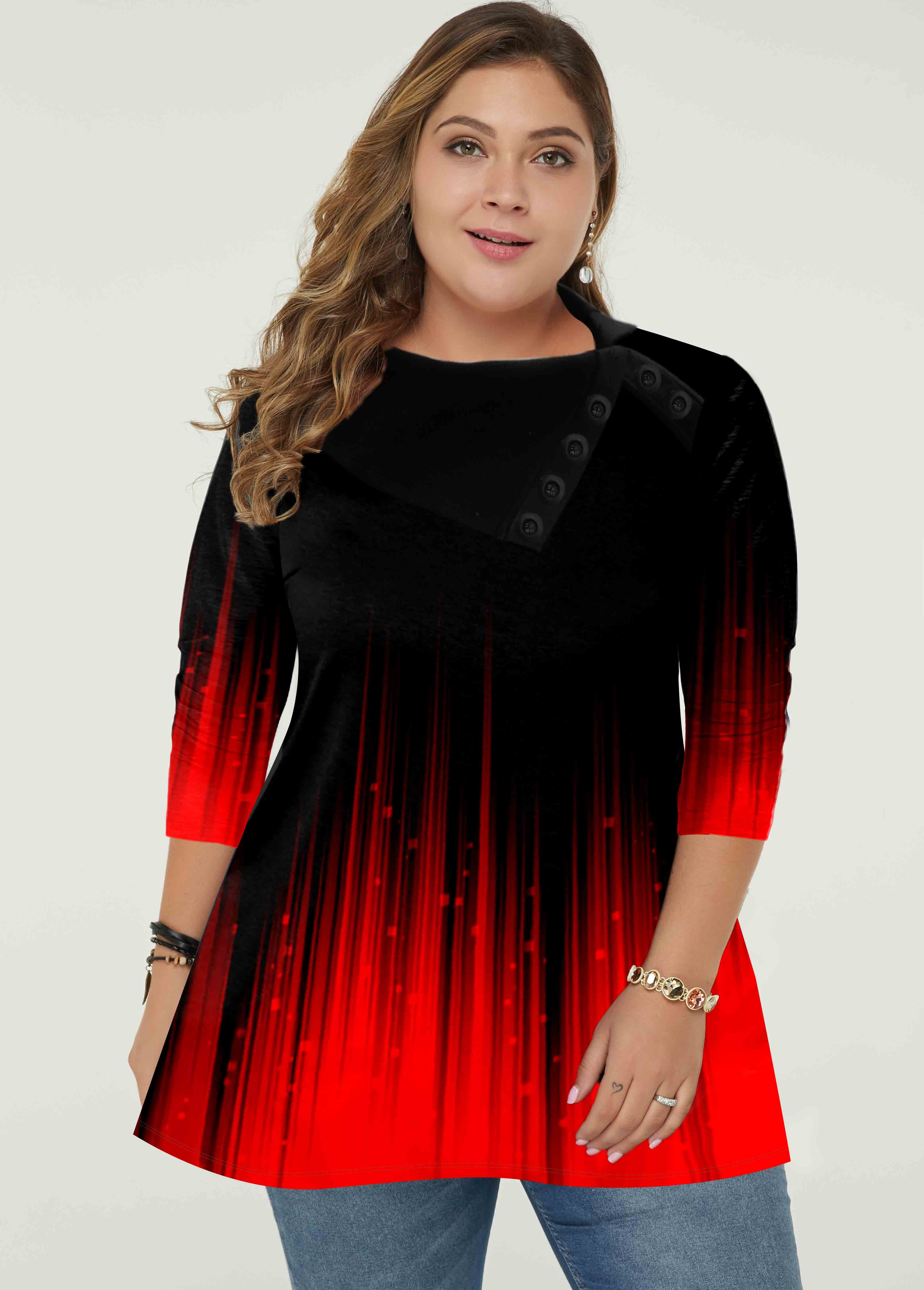 Ombre Long Sleeve Plus Size Tunic Top