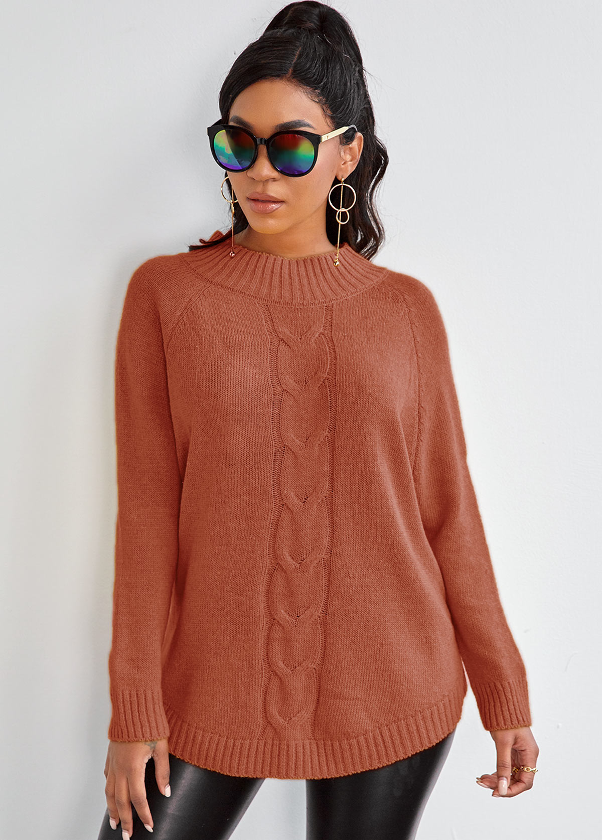 Mock Neck Rib Knit Batwing Sleeve Sweater