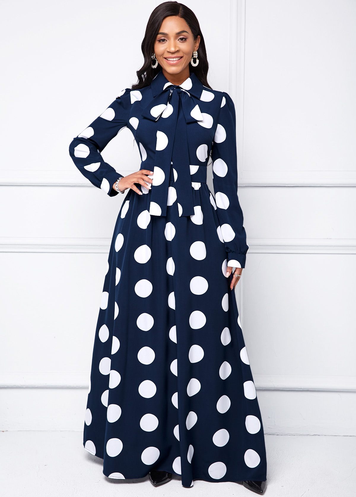Long Sleeve Turndown Collar Polka Dot Dress