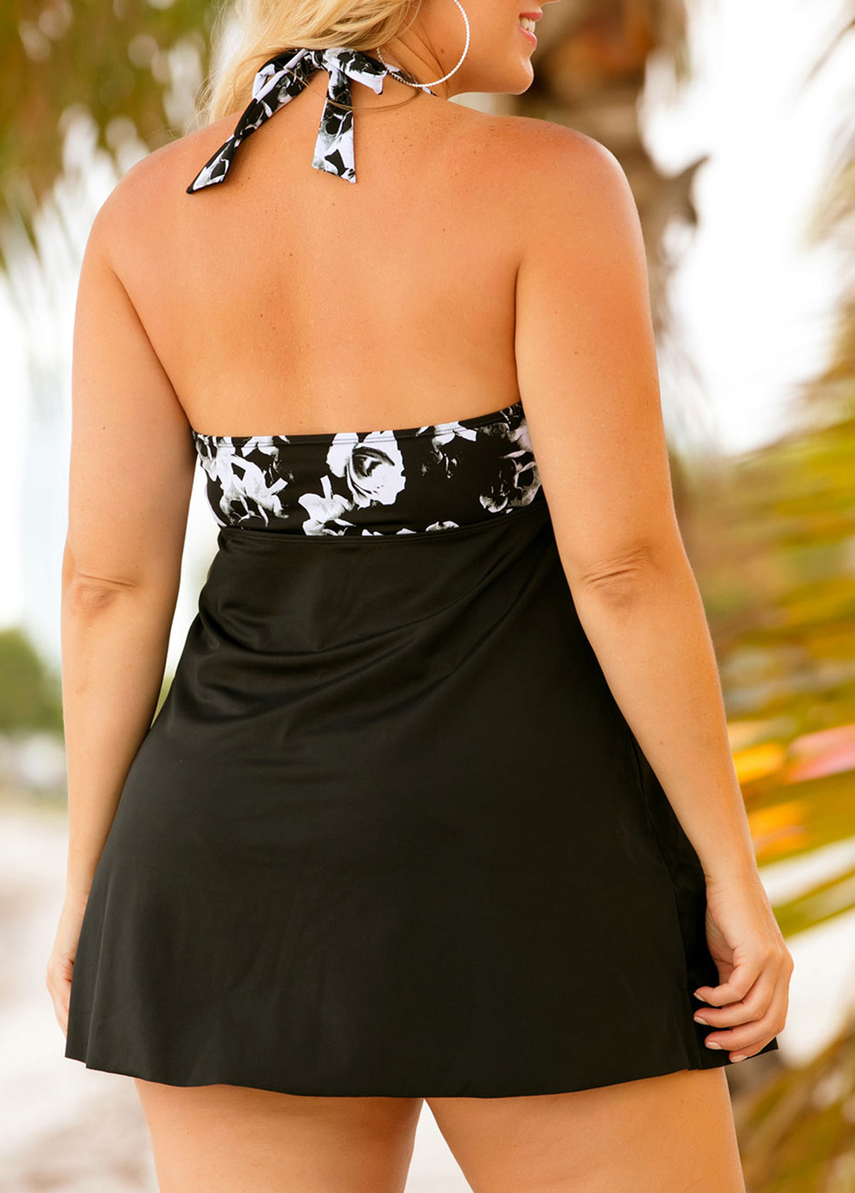 Floral Print Halter Plus Size Swimdress and Panty
