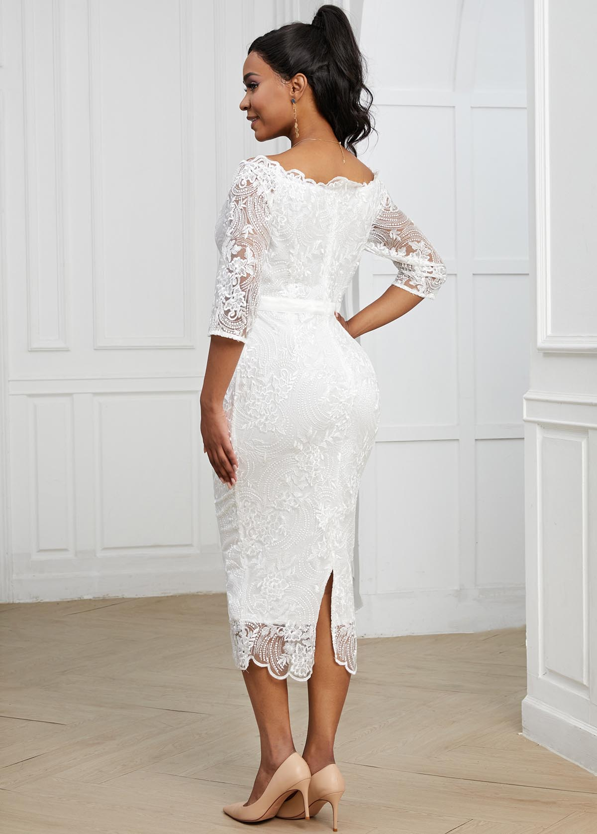 White 3/4 Sleeve Lace Bodycon Dress