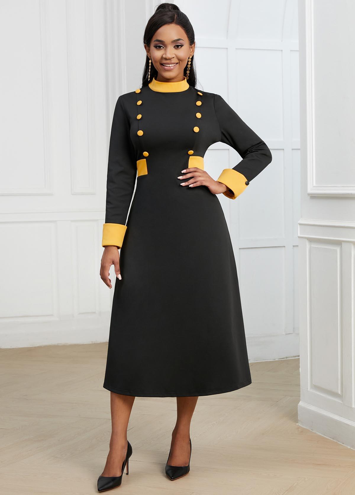 Long Sleeve Decorative Button Contrast Dress
