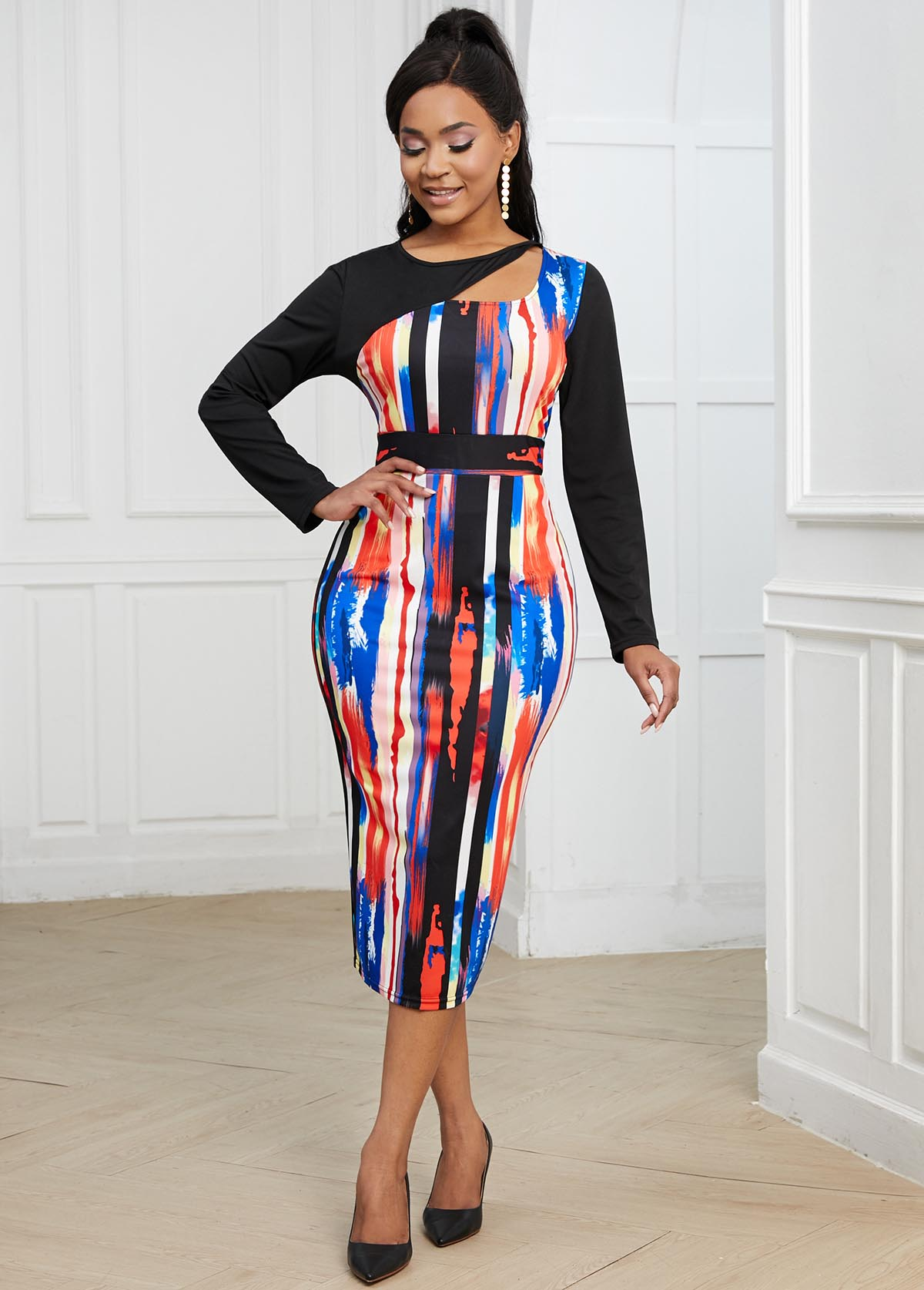 Long Sleeve Striped Cutout Neck Bodycon Dress