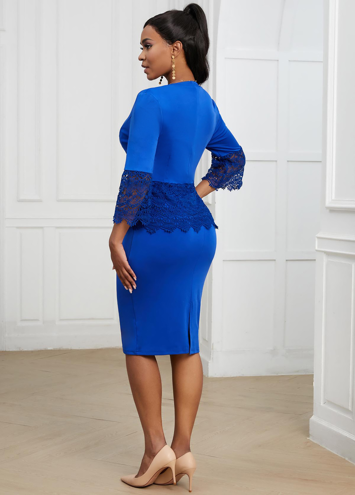 Lace Stitching Zipper Closure Top and Bodycon Dress