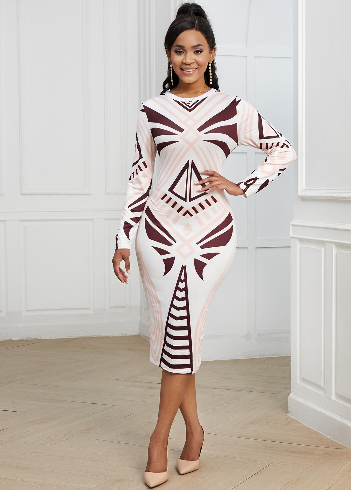 Long Sleeve Geometric Print Round Neck Dress