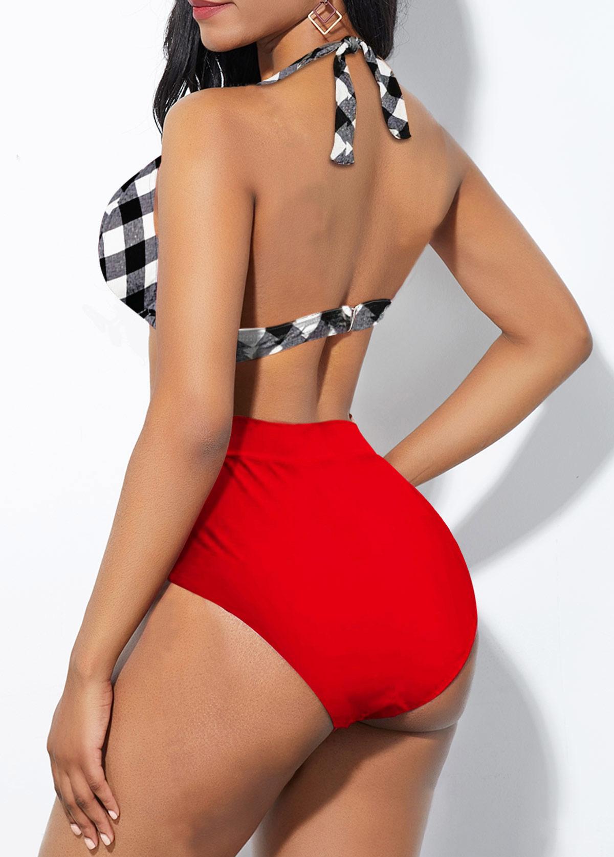 Ruched Plaid Halter Bowknot High Waisted Bikini Set