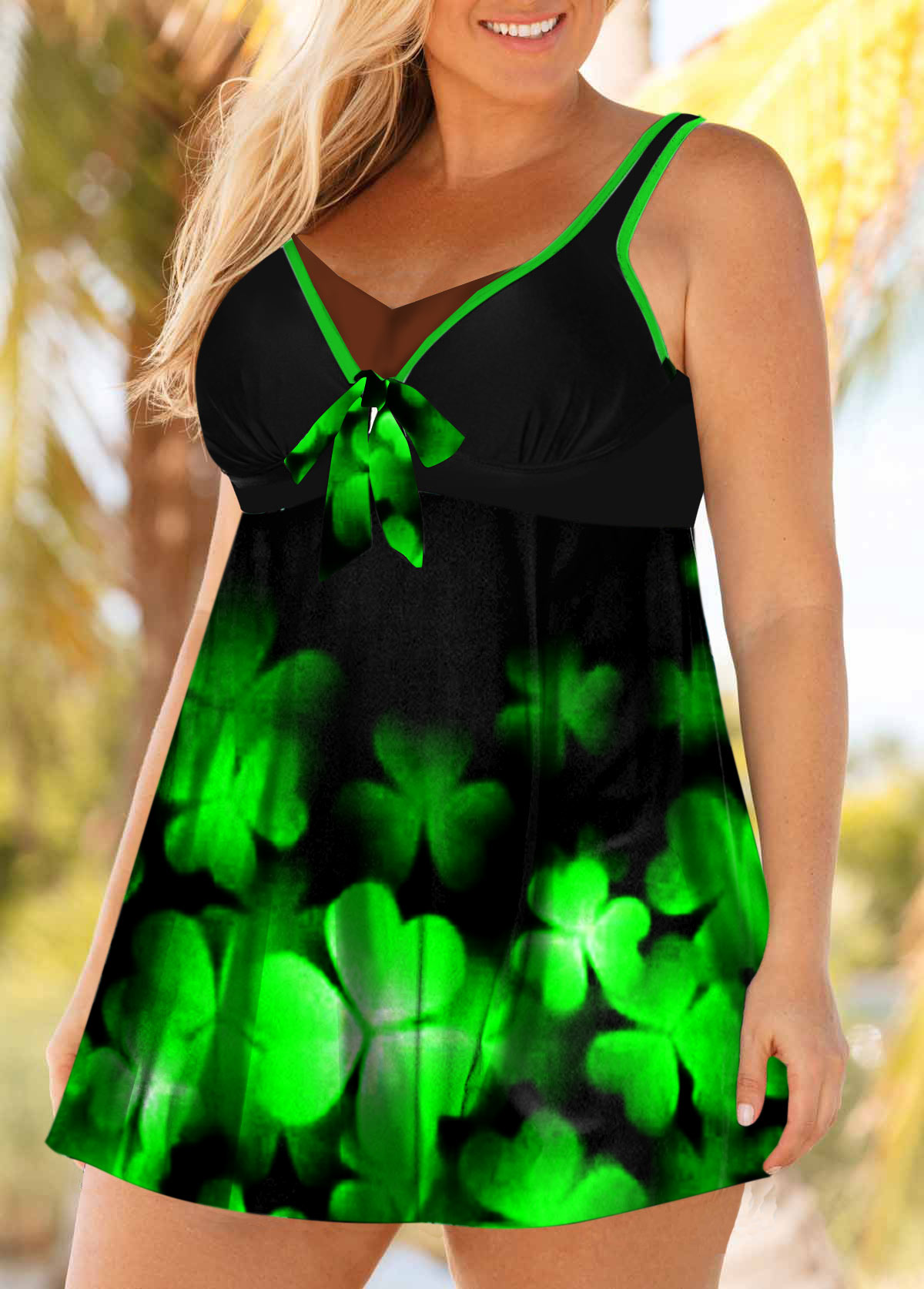 Ombre Plus Size Clover Print Swimdress and Shorts