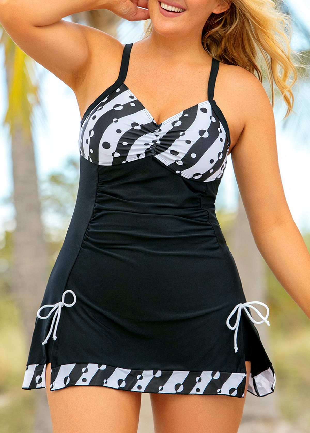 Polka Dot Bowknot Plus Size Swimdress and Shorts