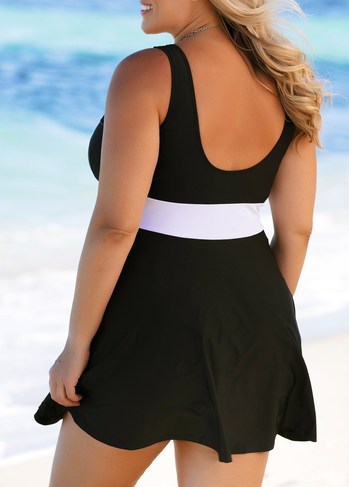 Contrast Plus Size Swimdress and Panty