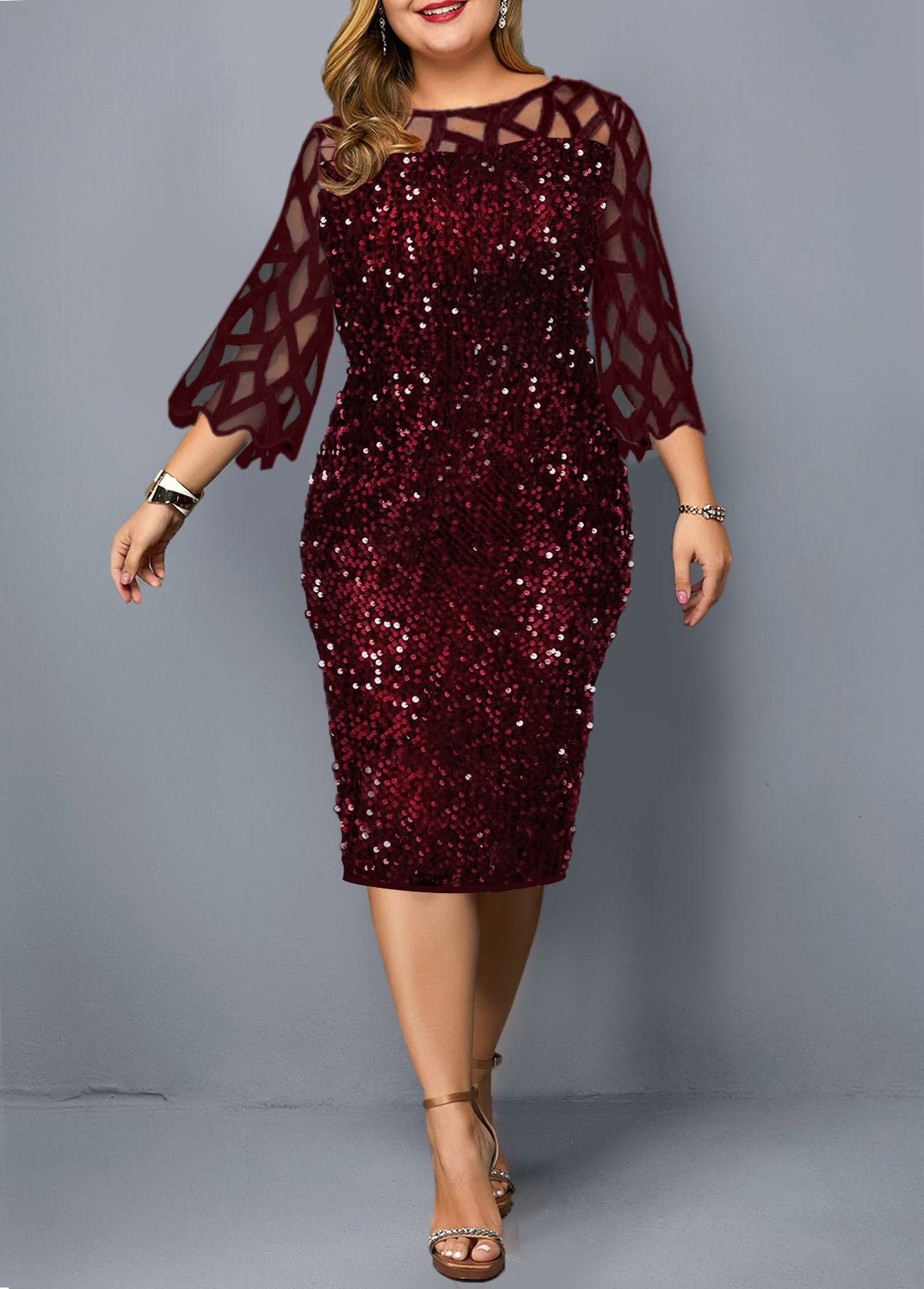 Sequin Mesh Stitching Plus Size Dress