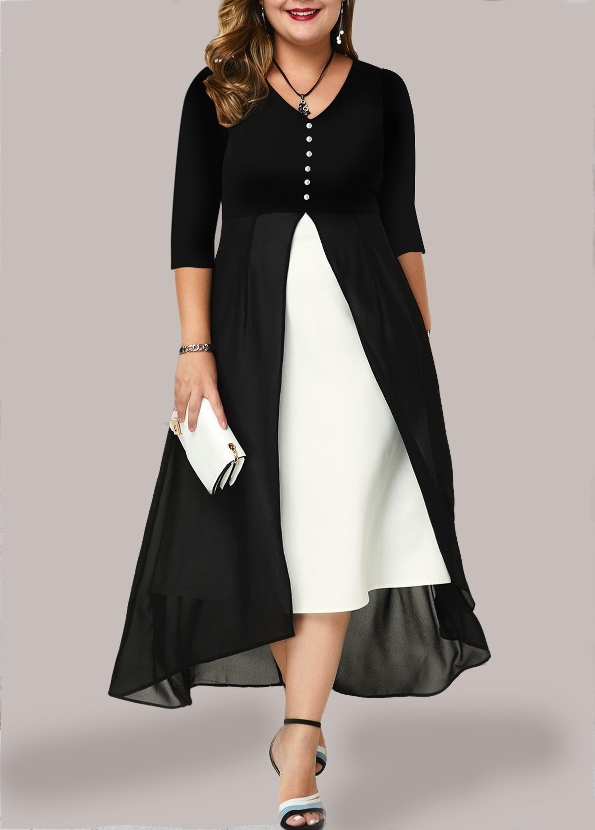Contrast Chiffon Panel Plus Size Dress