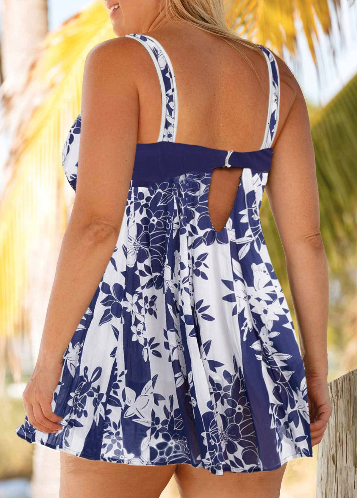 Plus Size Floral Print Swimdress and Shorts