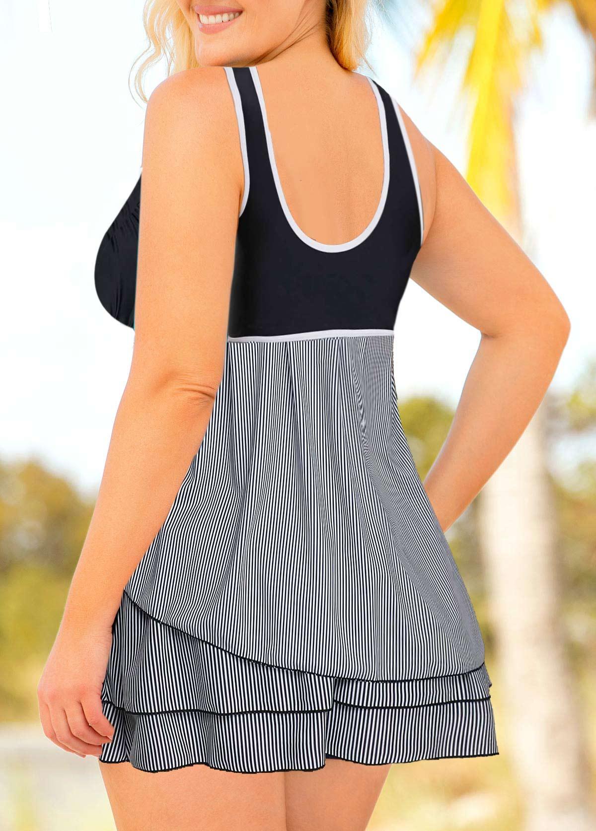 Layered Hem Striped Plus Size Swimdress and Shorts
