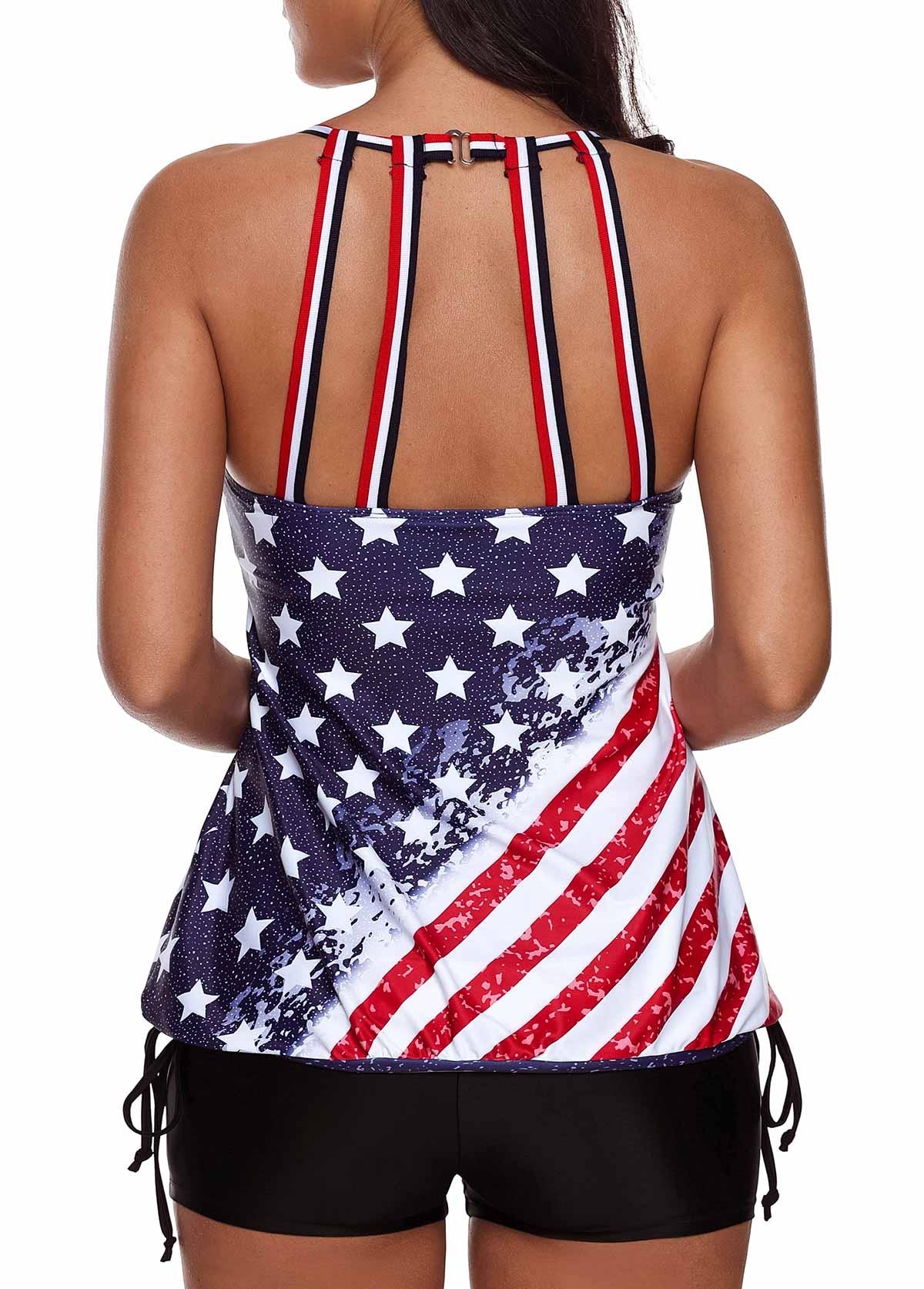 American Flag Print Plus Size Tankini Set