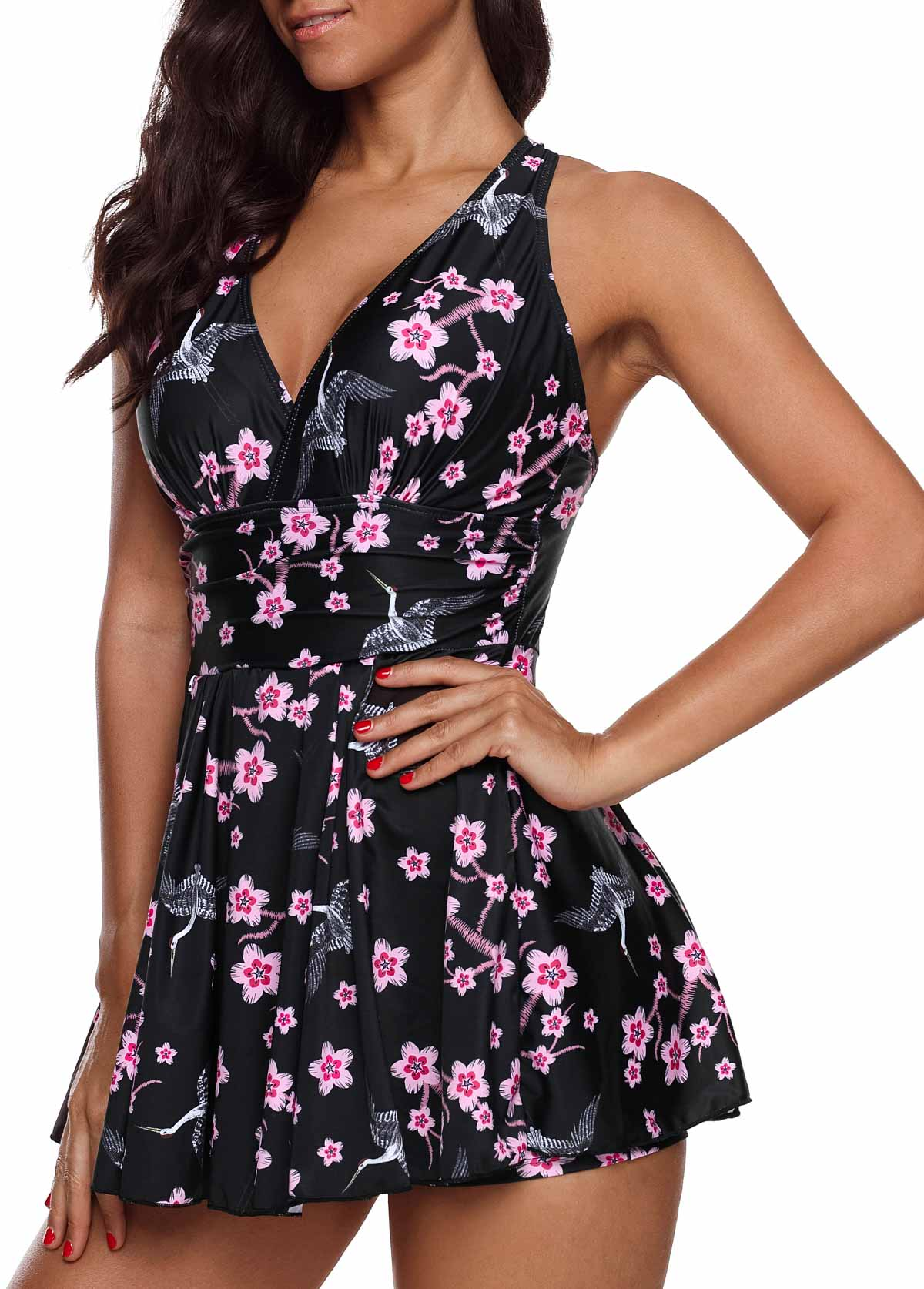 Floral Print Cross Strap Plus Size Swimdress and Shorts