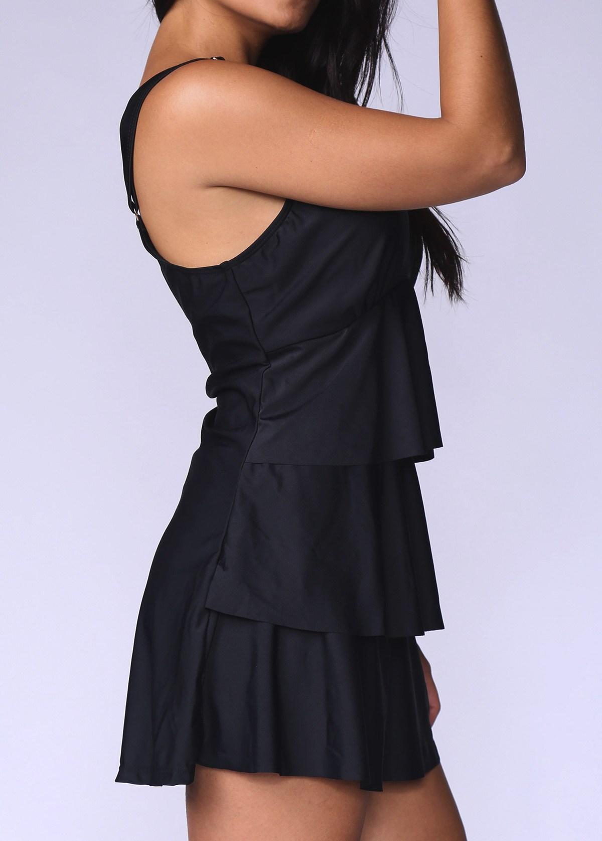 Black Layered Ruffle Hem Plus Size Swimdress and Panty