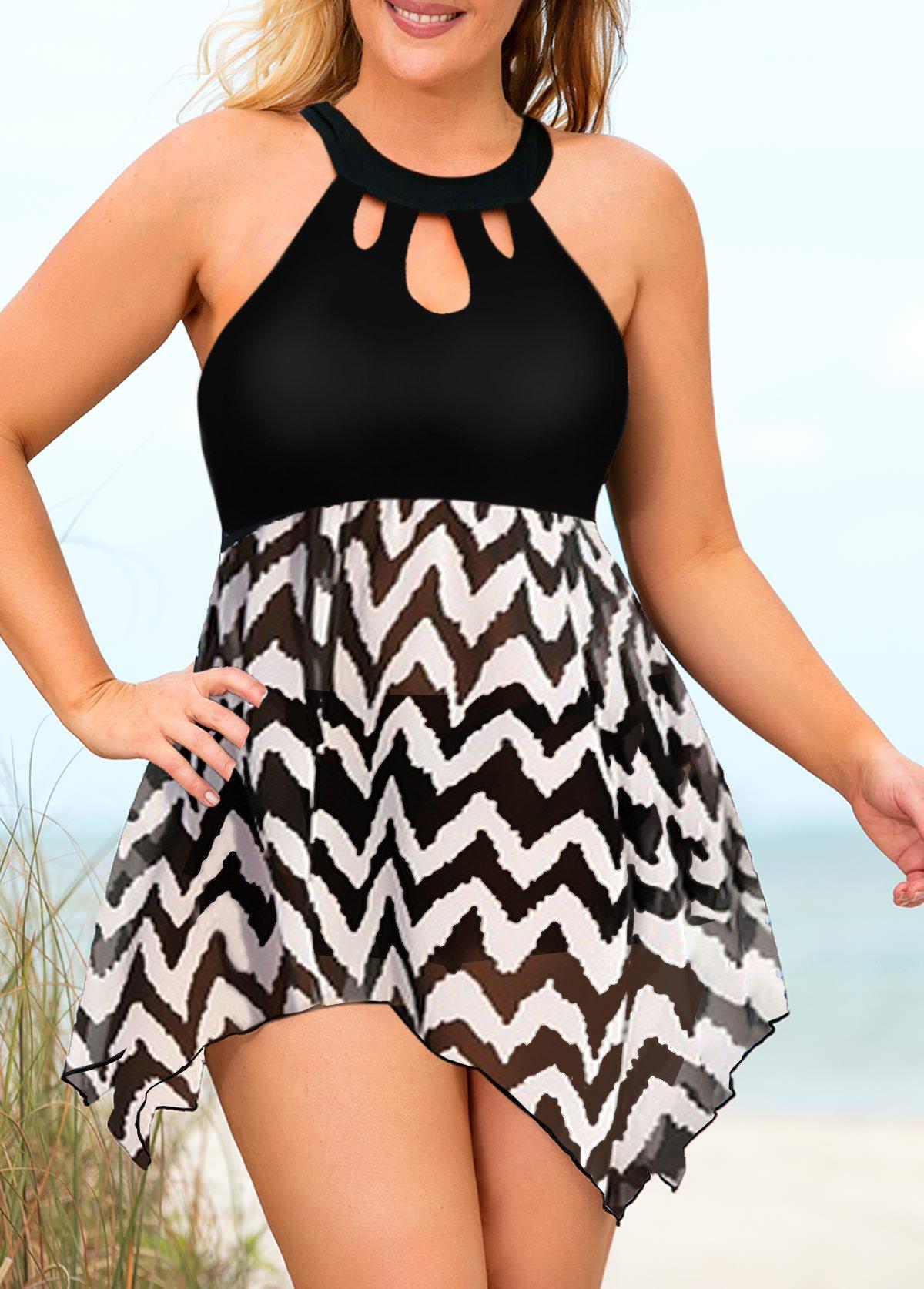 Plus Size Halter Geometric Print Asymmetric Hem Swimdress and Shorts