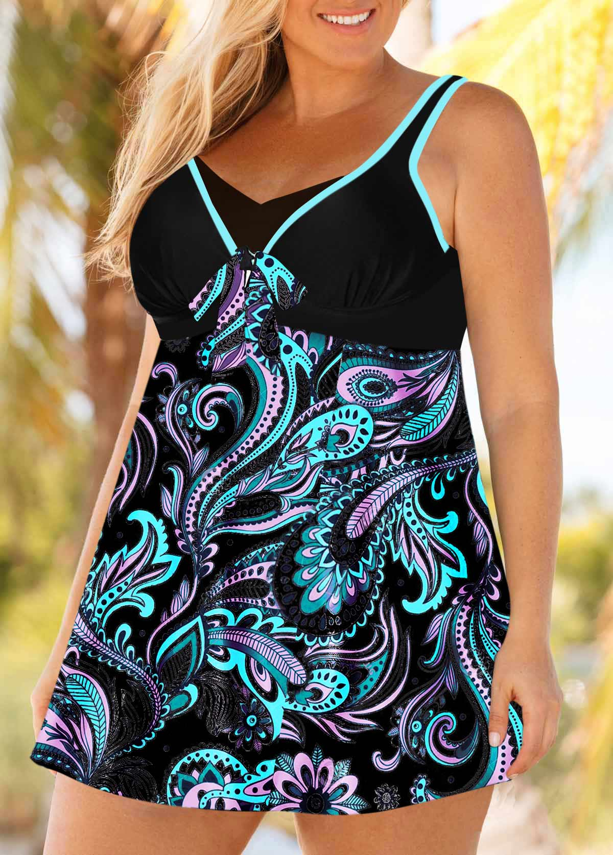 Paisley Print Contrast Plus Size Swimdress and Panty