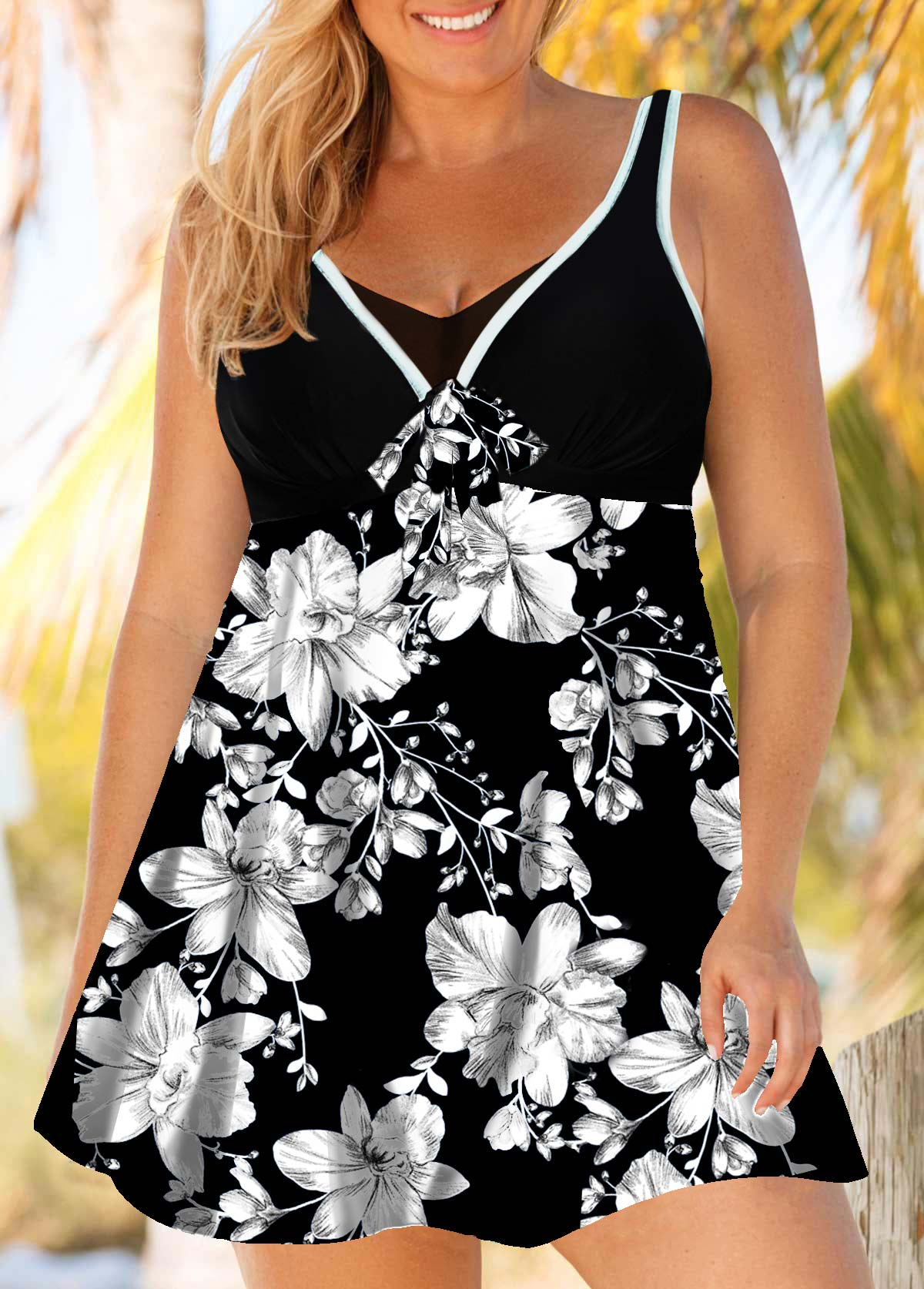 Floral Print Plus Size Swimdress and Shorts