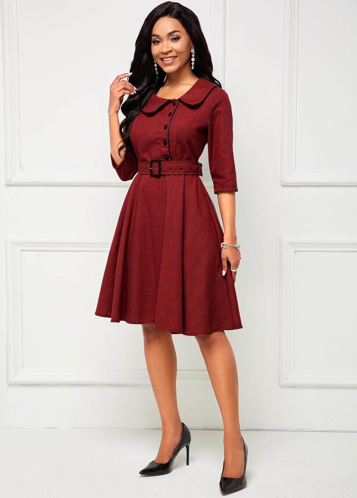 Buckle Belted Turndown Collar Vintage Dress