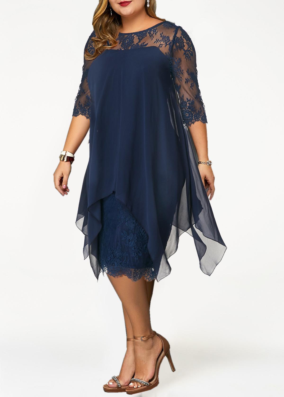 Chiffon Overlay H Shape Plus Size Lace Dress