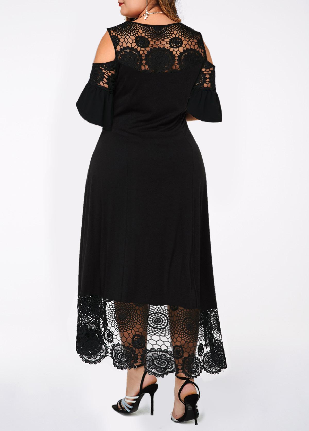Cold Shoulder Lace Stitching Plus Size Dress