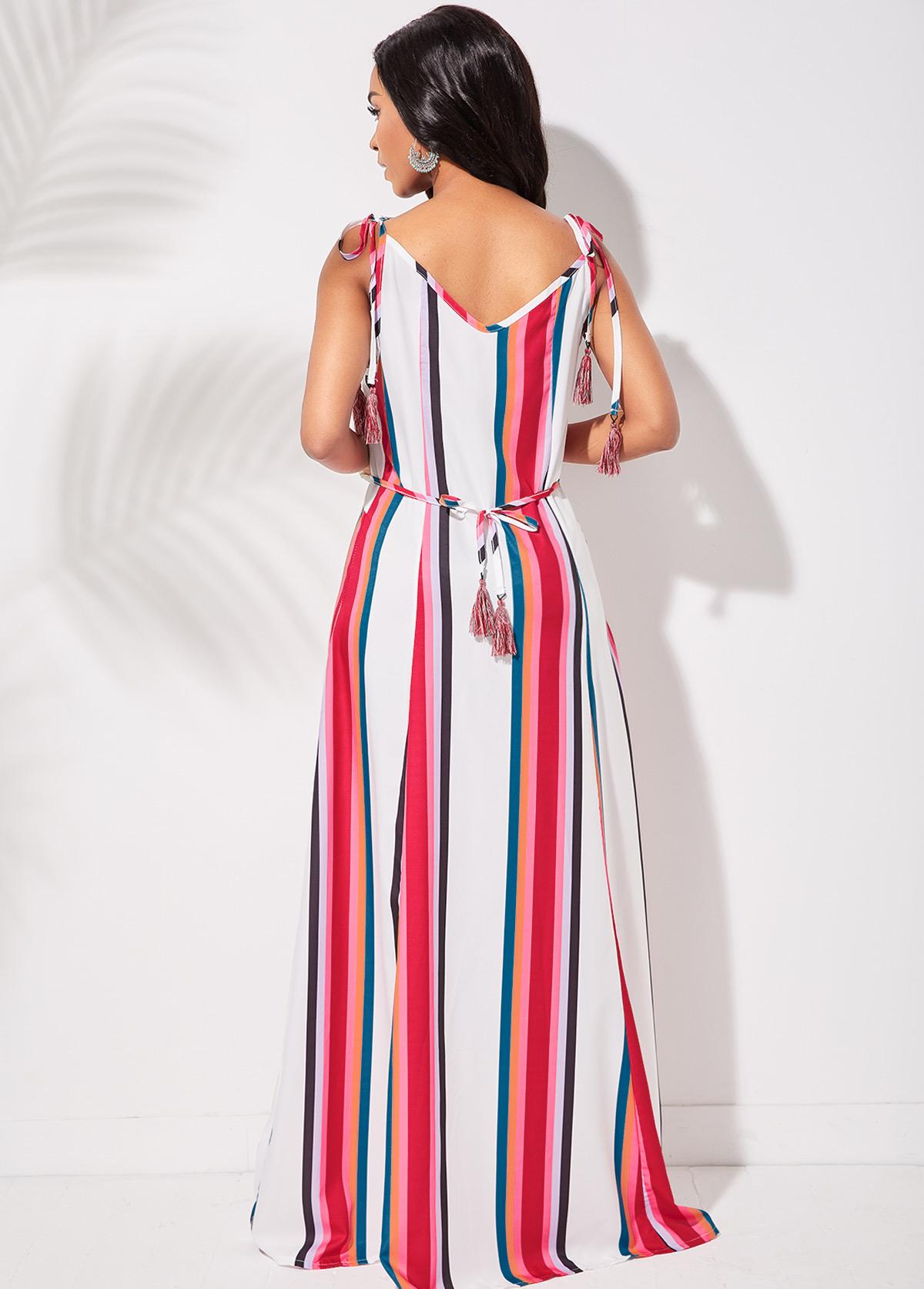 Tassel Tie Striped Spaghetti Strap Dress