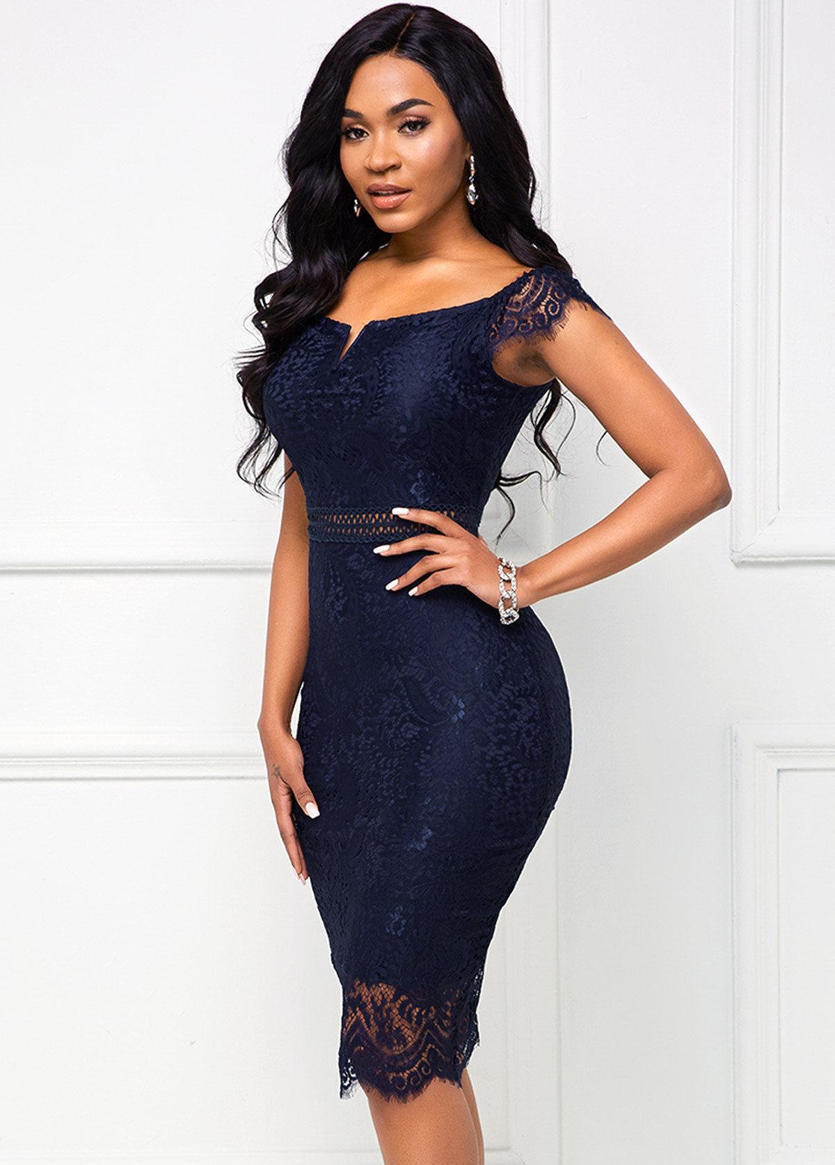Lace Cap Dress Navy Blue Bodycon Dress