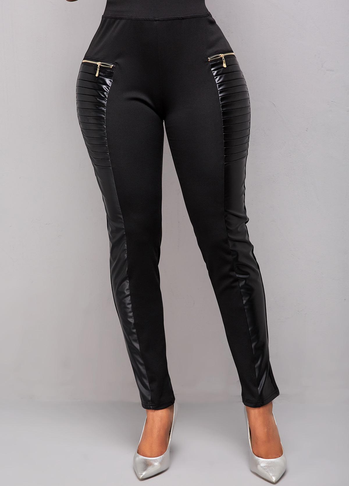Black Zip Detail High Waist Pants