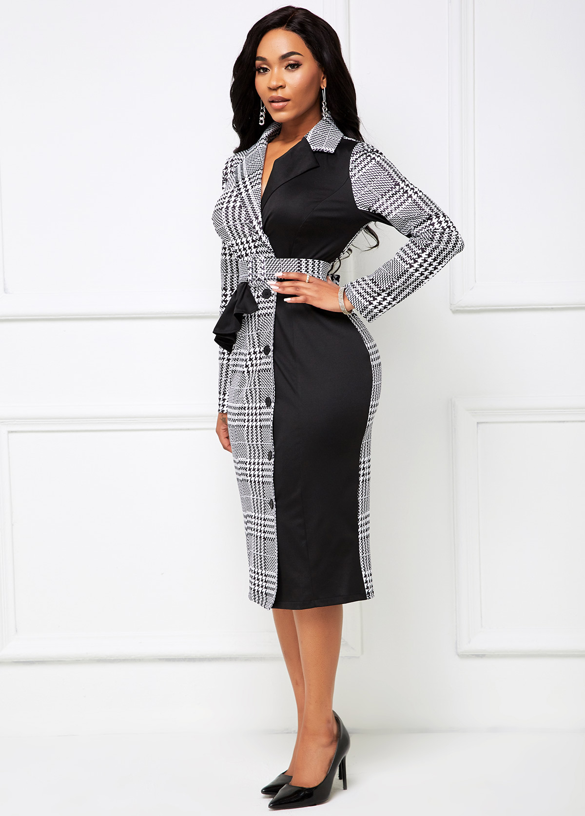 Button Front Buckle Belted Houndstooth Print Dress