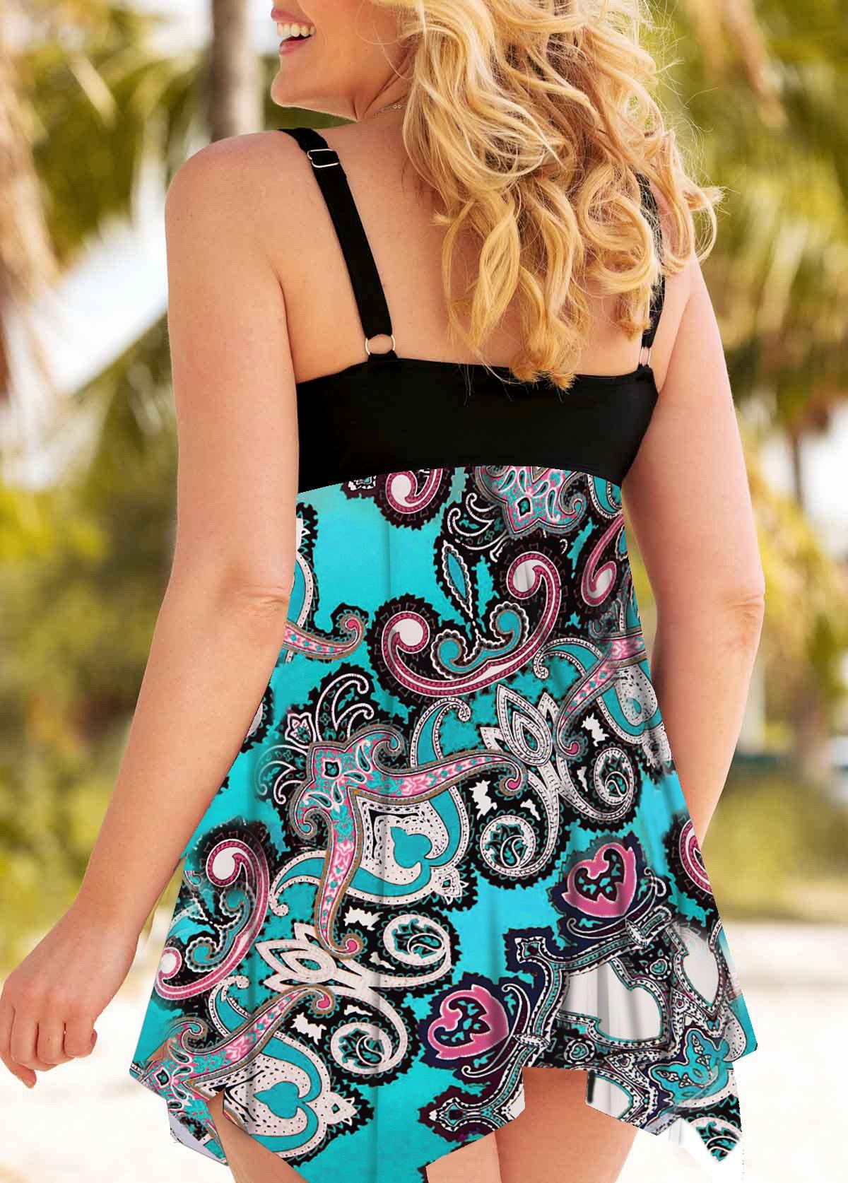 Asymmetric Hem Paisley Print Plus Size Swimdress and Shorts