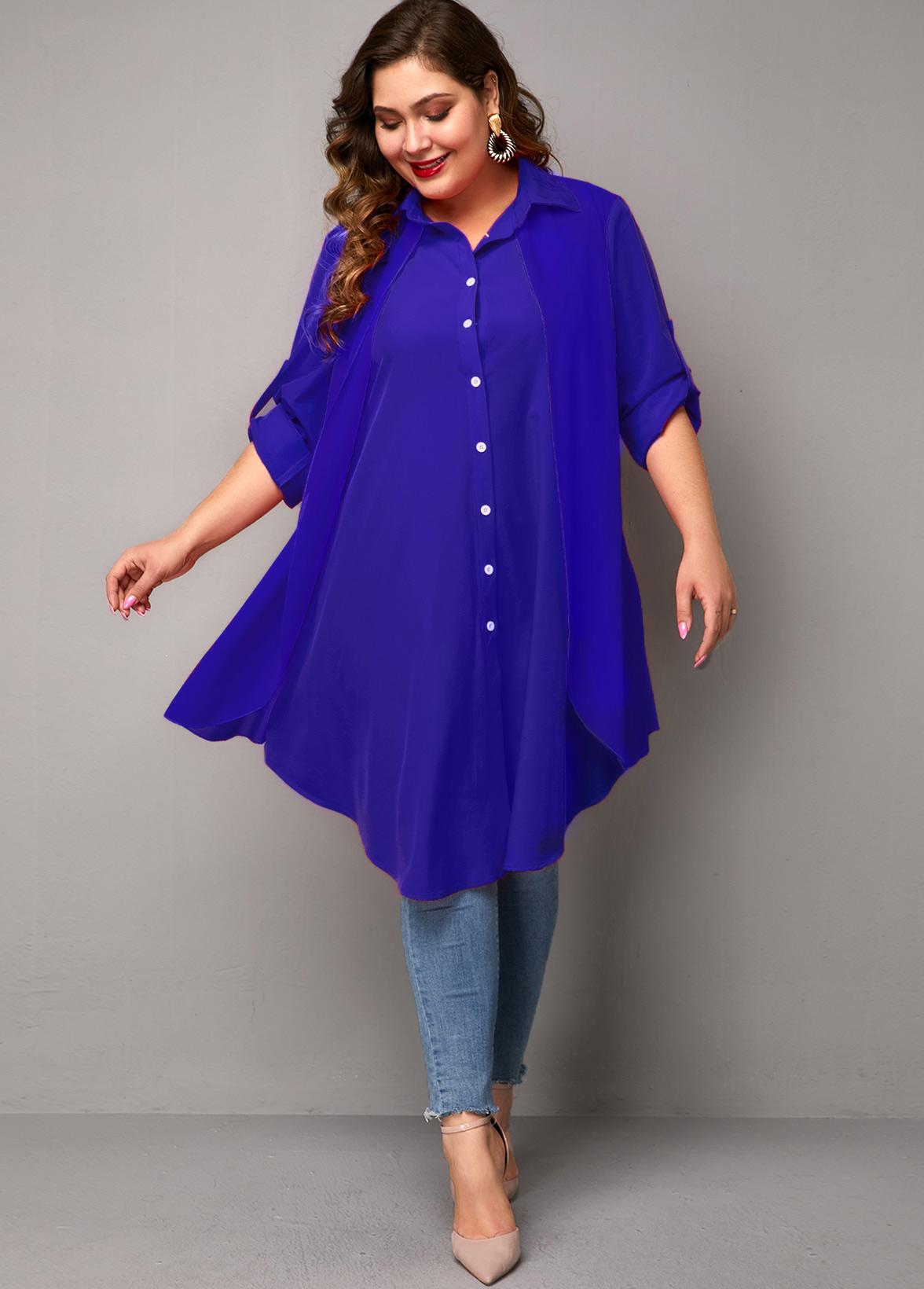 Button Up Asymmetric Hem Plus Size Blouse