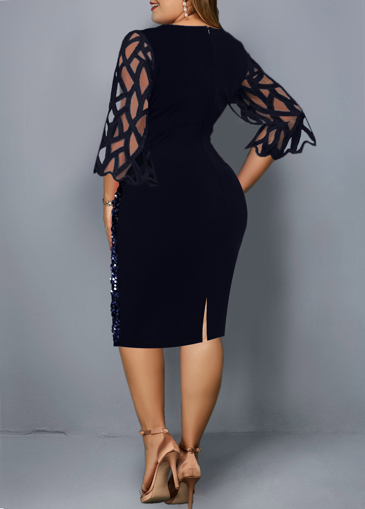 Sequin Mesh Stitching Plus Size Dress