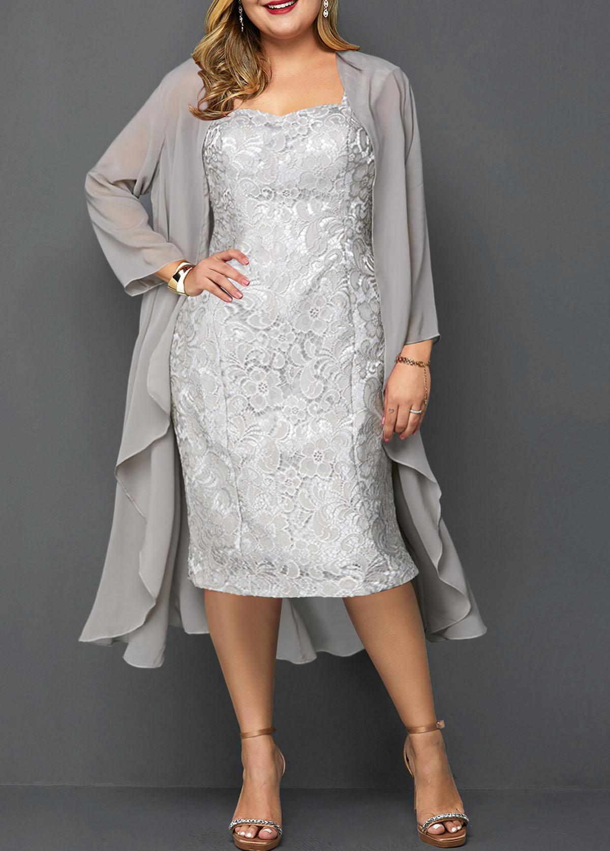 Plus Size Chiffon Cardigan and Lace Dress