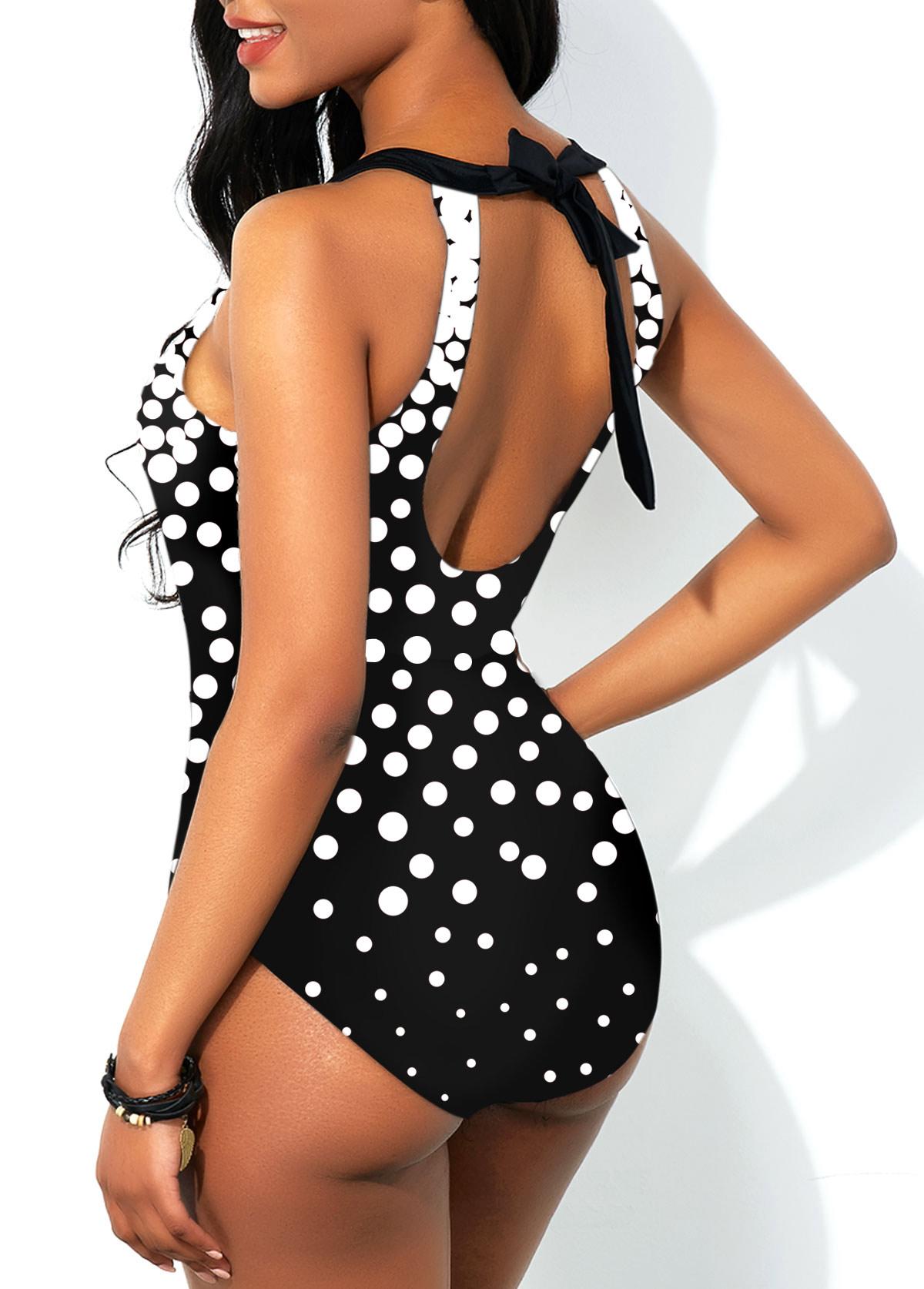 Polka Dot Print Cutout Back One Piece Swimwear