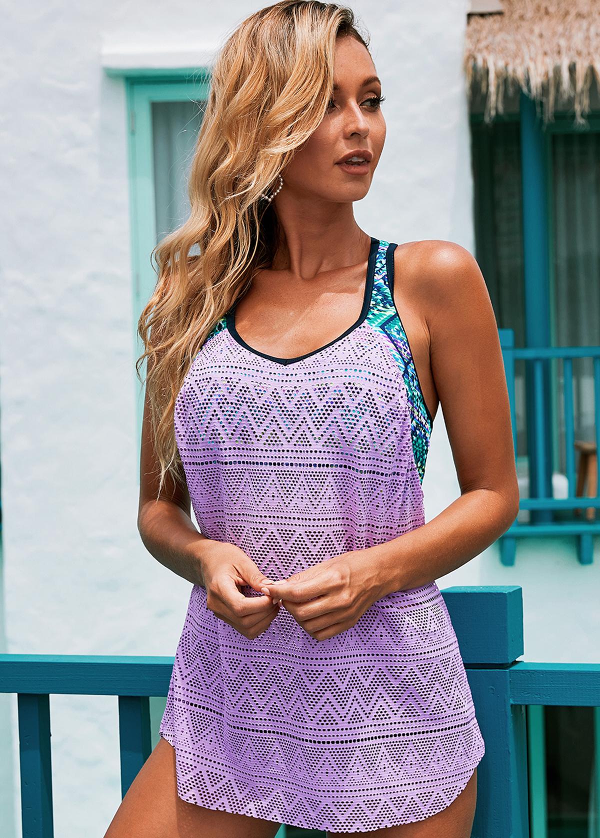 Mesh Contrast Light Purple Swimwear Top