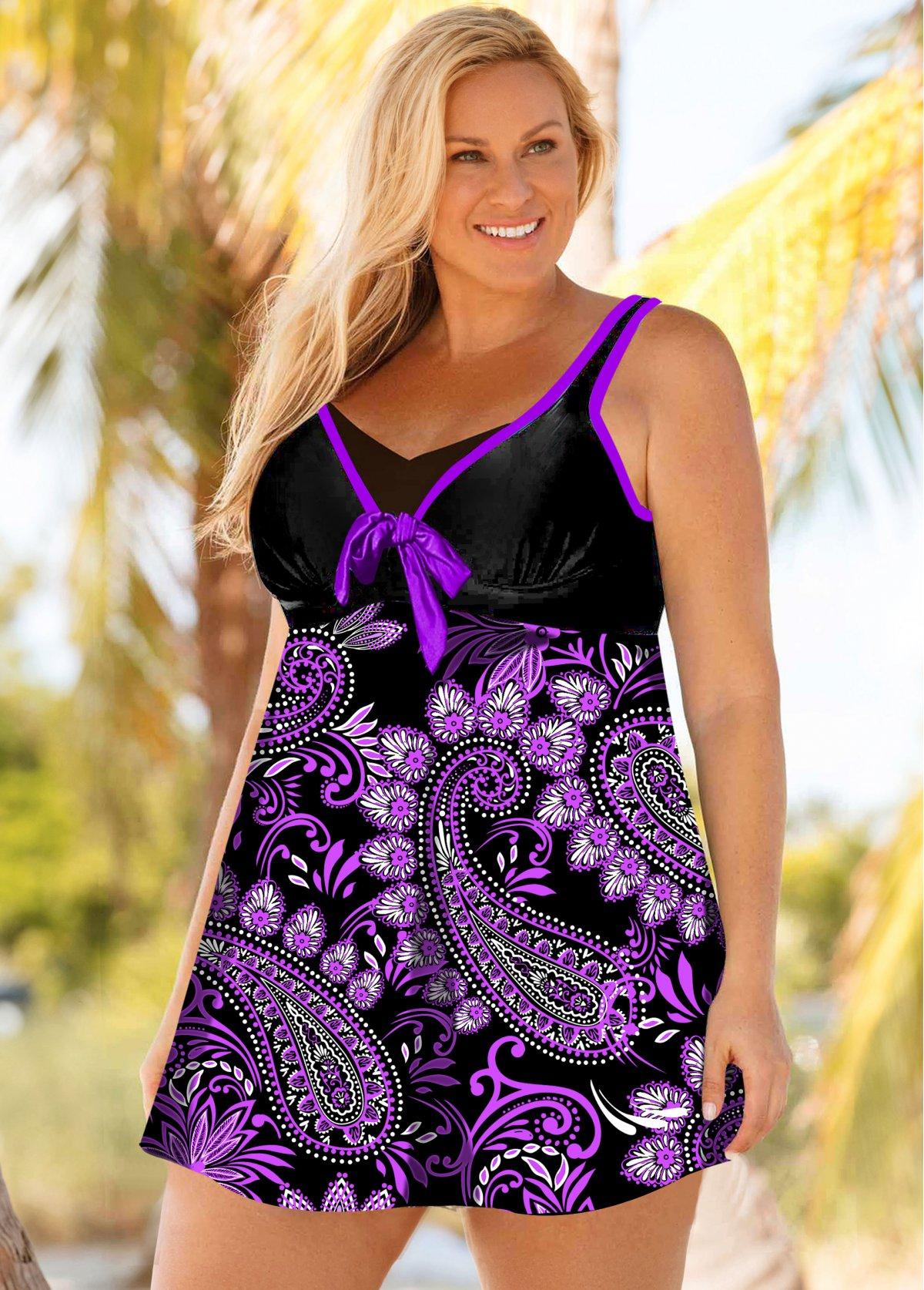 Paisley Print Bowknot Plus Size Swimdress and Panty