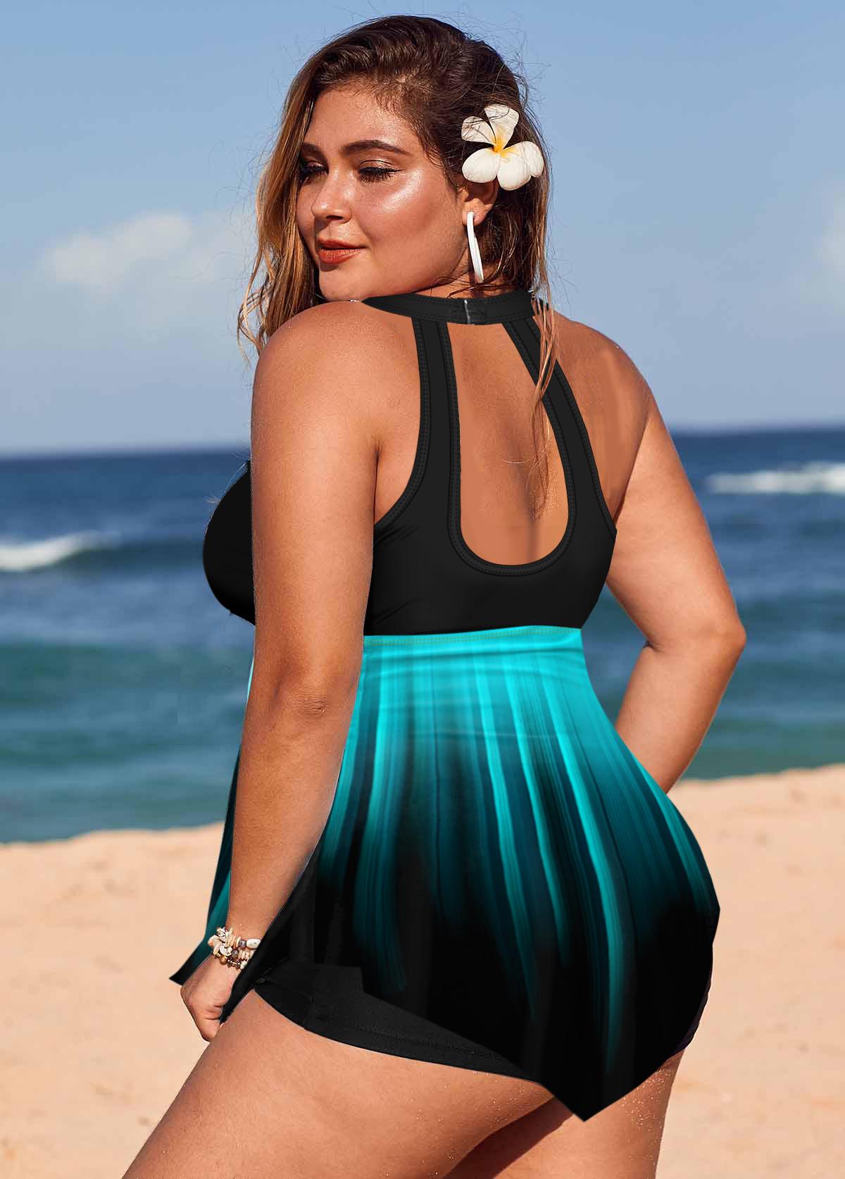 Asymmetric Hem Ombre Plus Size Swimdress and Shorts