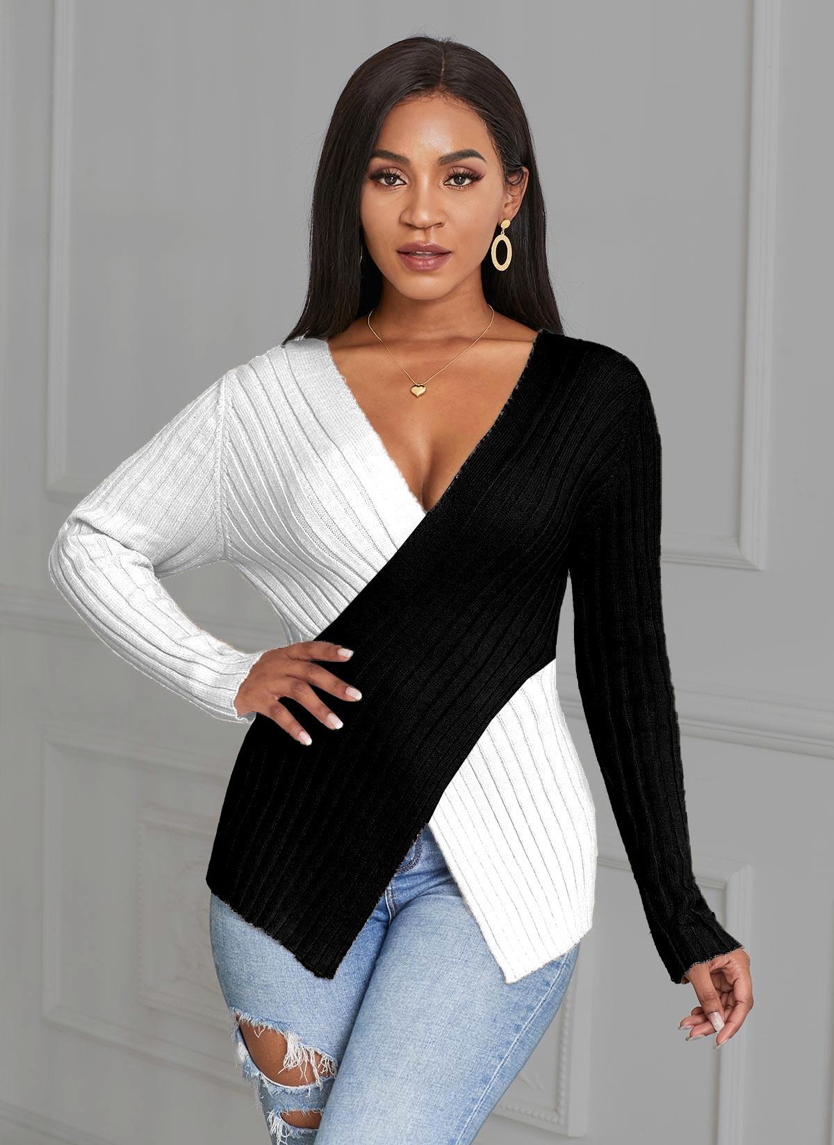 Plus Size V Neck Color Block Asymmetric Hem Sweater