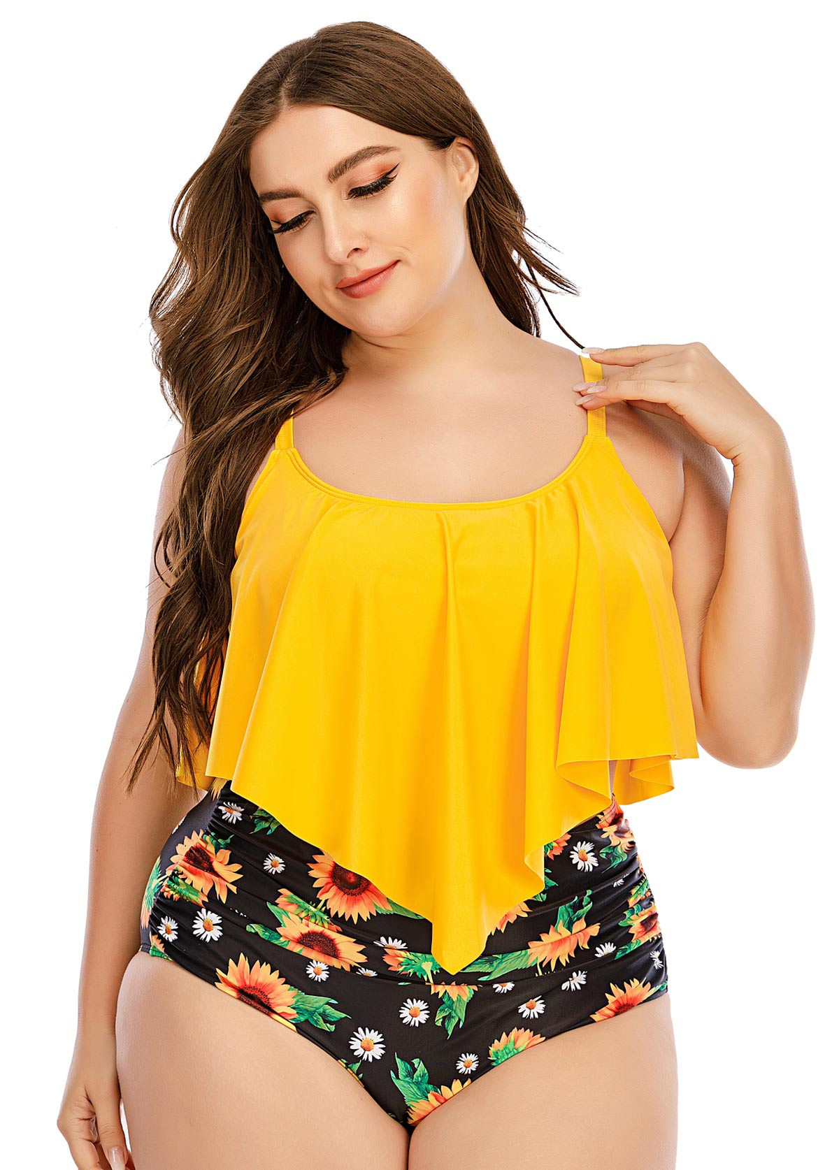 Sunflower Print Asymmetric Hem Plus Size Bikini Set