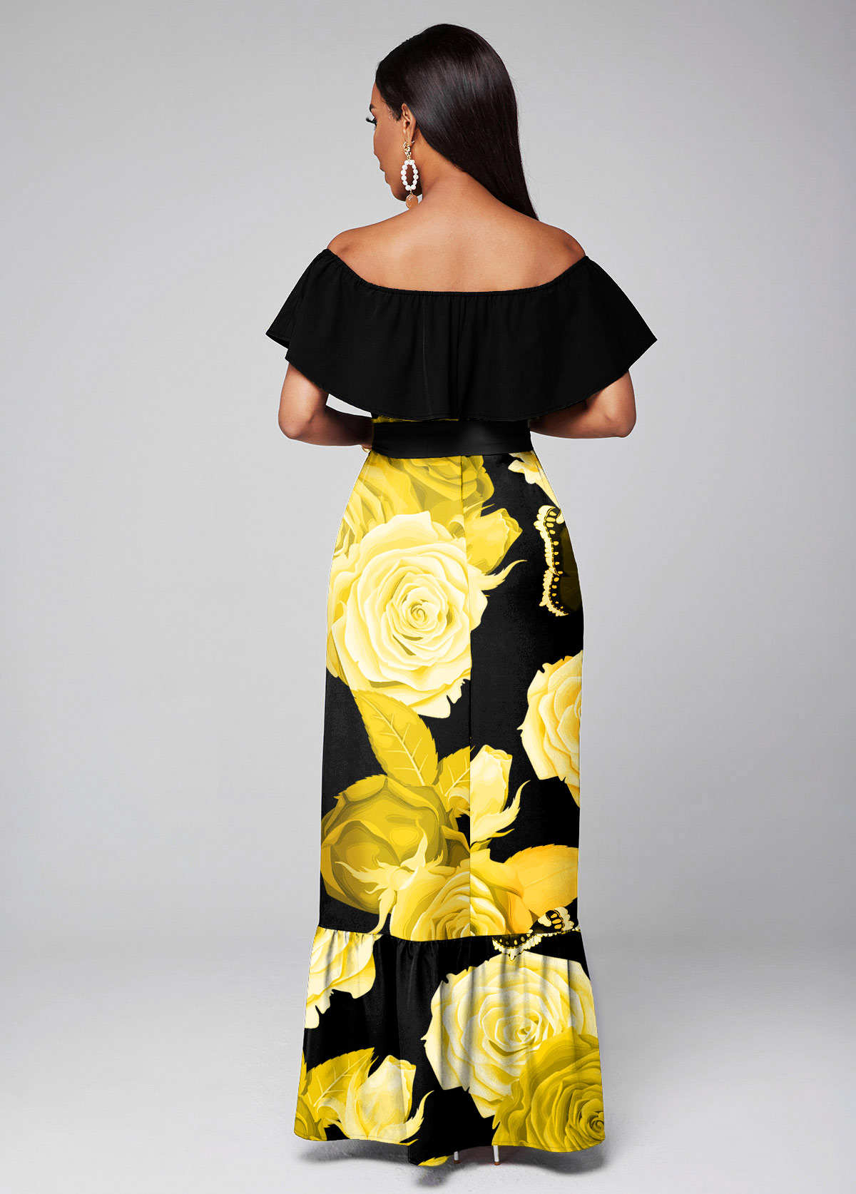 Overlay Belted Floral Print Maxi Dress