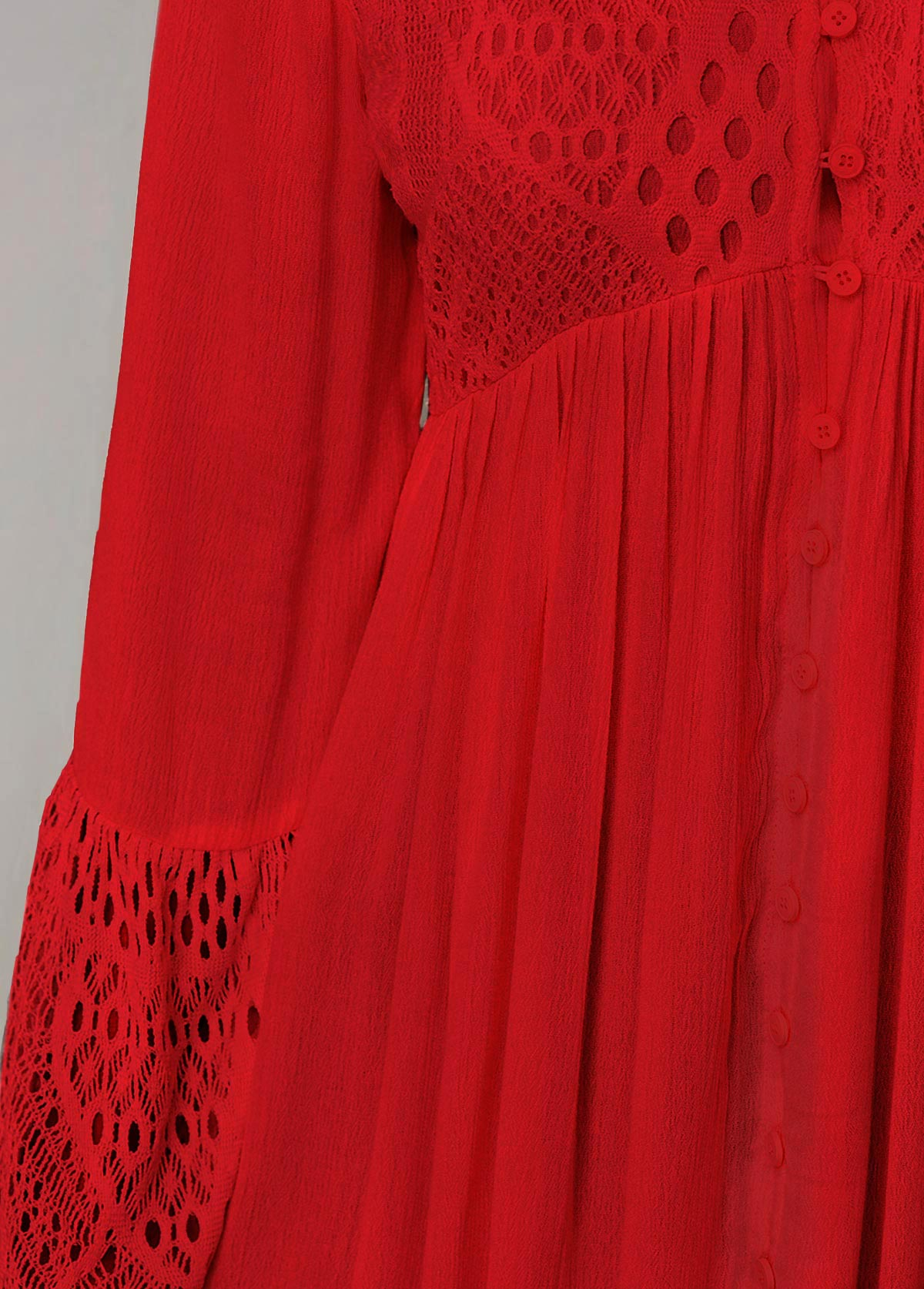 Flare Sleeve Red Lace Stitching Blouse