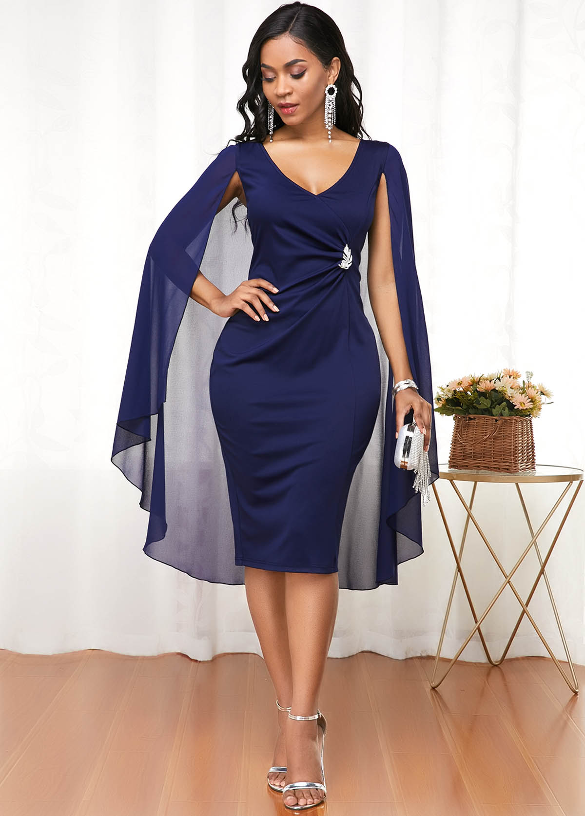V Neck Plus Size Long Sleeve Cape Dress
