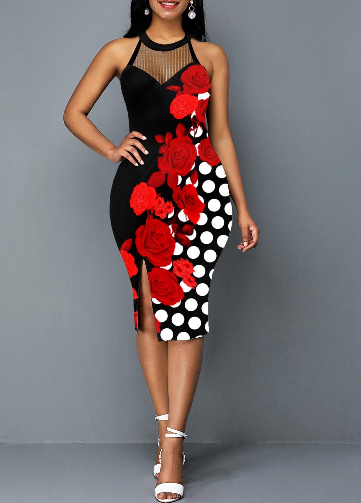 Polka Dot Side Slit Floral Print Dress