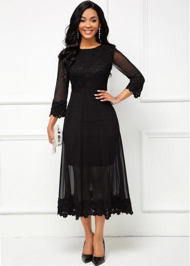 Black Lace Stitching Mesh Sleeve Dress